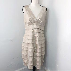 London Times Champagne Shutter Pleat Dress 14